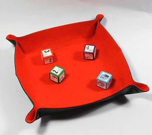 Orange Folding Dice Tray All Rolled Up